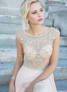 Abendkleider - $149.99 - A-Linie/Princess-Linie U-Ausschnitt Sweep/Pinsel zug Chiffon Abendkleid mit Perlenstickerei (0175057515)