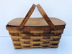 Excited to share this item from my #etsy shop: Antique Wooden, Woven, Picnic Basket, Old Primitive, Picnic Basket with Hinged Lid and Bent Wood Handles, Excellent Condition #brown #primitivebasket #oldpicnicbasket #picnicstorage #stackablepicnic #antiquepicnic #vintagepicnic #picniccamping #woodenwovenbasket