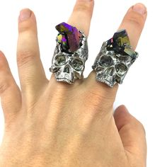 Raw - Urban - Organic How are these for statement rings! These stunning rainbow aura crystals are set within one of our custom skull rings. (A)...