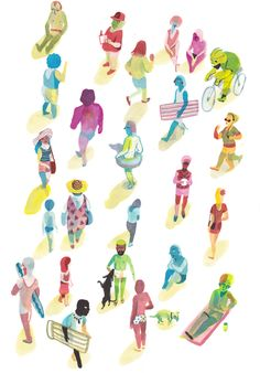 Brecht Evens 'Rev Des Plage' - quirky use of colour palette and negative space instead of sand modernises aesthetic and concentrates the audience's focus on each character. Film Rio, Brass Band, Art Lyrique, Tom Bagshaw, Map Projects, Animation, Love Illustration, Illustrations, Character Design