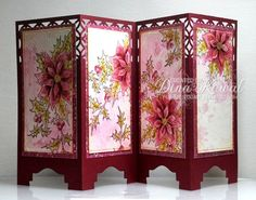Poinsettia Screen Card by dini - Cards and Paper Crafts at Splitcoaststampers Easel Cards, 3d Cards, Pop Up Cards, Christmas Cards, Fancy Fold Cards, Folded Cards, Screen Cards, Asian Cards, Oriental