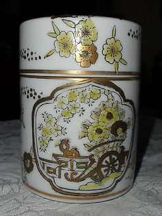 "Vintage Gold Imari Hand Painted 4"" Round Covered Jar *gorgeous!*"