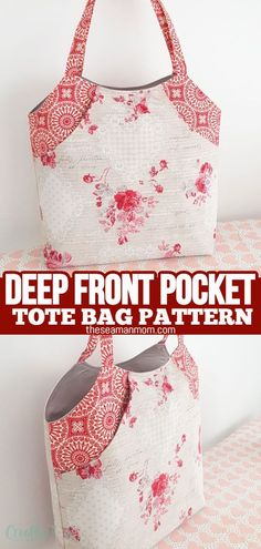 DEEP FRONT POCKET TOTE BAG PATTERN Create a one-of-a-kind front pocket bag by choosing colorful and coordinating fabrics for the bag, the pocket and the straps, for a chic yet low key custom look. Easy Sewing Projects, Sewing Hacks, Sewing Tutorials, Sewing Crafts, Bag Tutorials, Tote Pattern, Bag Patterns To Sew, Sewing Patterns Free, Loom Patterns