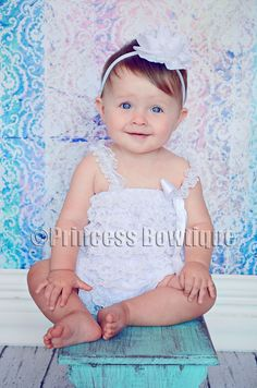 White Petti Romper for Babies and Toddler: Baby Headbands- Baby Bow Headbands - Hair Bows - Baby Tutus at Princess Bowtique