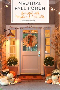 Neutral Fall Porch decorated with pumpkins and cornstalks. See how to decorate your front porch for autumn using natural pumpkins and cornstalks for a beautiful and festive fall look. #fallfrontporch #falldecorating #falldecor #fallfrontdoor