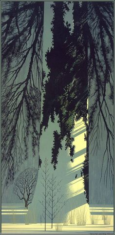 Illustration by Eyvind Earle (b. Art And Illustration, Land Art, Eyvind Earle, Wow Art, Art Graphique, Tree Art, American Artists, Graphic Art, Art Photography