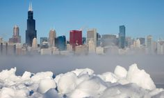 The Chicago skyline is seen beyond the arctic sea smoke rising off Lake Michigan in Chicago, Il, on Jan. A blast of Arctic air gripped the mid-section Chicago Skyline, Lac Michigan, Arctic Wind, Chicago Winter, My Kind Of Town, New York, Great Lakes, Willis Tower, Lakes