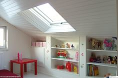 Really like the beadboard and shelves...attic room