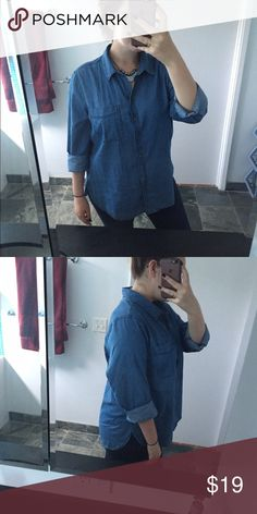 Oversized Jean button up shirt dress Oversized blue Jean button up shirt Size XL model is a Large Worn once in excellent like new CONDITON From old navy will fit large oversized Old Navy Tops Button Down Shirts