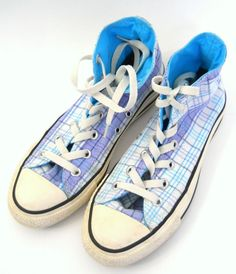 Converse Chuck Taylor All Stars Shoes Sneakers Size 7 Womens Mens 5 Blue Plaid #ChuckTaylor #Sneakers