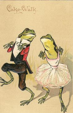 cake walk frogs #vintage >> a toast to the peace frogs....