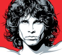 Jim Morrison Face Art by Mel Marcelo