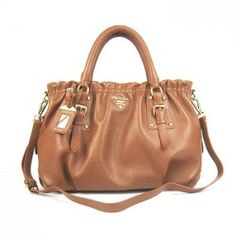 £136.00 Real Prada Br62018 Calfskin Elasticity Tote Bags Khaki Outlet Store