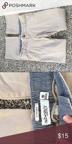 Maternity stretch khakis Stretch maternity khakis from Old Navy in great condition! Elastic waist makes these perfect for early to mid pregnancy when your other clothes don't quite fit but you don't yet have a big belly Old Navy Pants