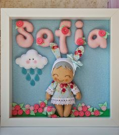 Inspiration: Lots of cute things. Use a translator… Foam Crafts, Diy And Crafts, Baby Gifts To Make, Jumping Clay, Sewing Projects, Diy Projects, Felt Wreath, Diy Frame, Box Frames