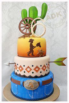 Western - Cowboy cake by Arte da Ka Cakes...cute for that little cowboy