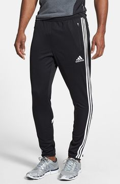 $45, Black and White Vertical Striped Sweatpants: adidas Condivo 14 Training Pants. Sold by Nordstrom. Click for more info: https://lookastic.com/men/shop_items/77329/redirect