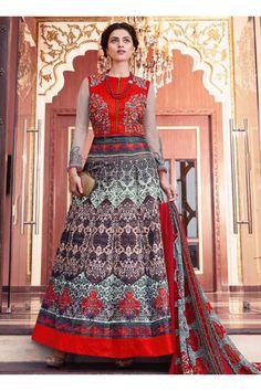 Multi Colour tapeta silk Wedding Wear Embroidered Work Anarkali Suit