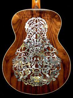 Custom Acoustic Guitars Back with Inlay Custom Acoustic Guitars, Custom Guitars, Unique Guitars, Vintage Guitars, Music Guitar, Cool Guitar, Guitar Chords, Ukulele, Guitar Inlay
