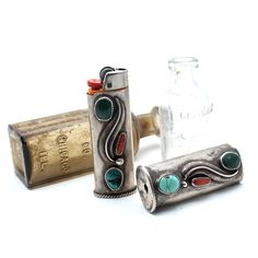 Southwest Turquoise Lighter Case Navajo Made 0004