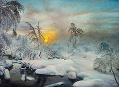 Artwork >> Sorin Apostolescu >> After Winter Storm #artwork, #trees, #oil, #painting, #masterpiece, #nature, #freeze, #winter, #snow