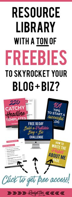 Free resource library for your blog and online business! Great for bloggers and entrepreneurs with a website who want freebies to grow their biz. Click to get access!