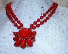 Ravishing Miriam Haskell 2 Strand Filigree Red Glass Flower Motif Pendant Necklace
