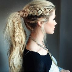 """ A GORGEOUS sideways Dutch braid into a ponytail by @amberfillerup using dry shampoo! Some awesome hair inspo for the weekend.  See…"""