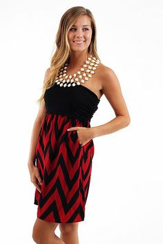 Pump It Up Dress, black/crimson $44 www.themintjulepboutique.com