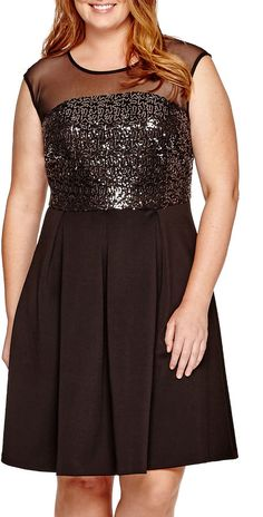 Plus Size Sequin Fit-and-Flare Dress