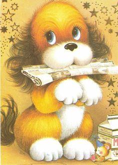 Foi assim que a gente aprendeu a amar os animais de estimação? Cute Images, Cute Pictures, Animal Drawings, Cute Drawings, Cute Puppies, Cute Dogs, Baby Animals, Cute Animals, Vintage Cartoons
