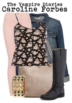 The Vampire Diaries- Caroline Forbes by darcy-watson on Polyvore featuring polyvore fashion style River Island Topshop Frye Noir Jewelry clothing carolineforbes thevampirediaries