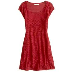 AE red crochet dress XS Lined with a full slip, this red crochet dress by AE is super flattering, bright, and cute. Pair with tights in the winter or a light chambray for the spring! Worn 2X. 🔅Reasonable offers welcome! 🔅Can list on merc if preferred. 🔅Lowball offers will be declined. American Eagle Outfitters Dresses