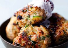 Chicken and Zucchini Patties with Minted Sumac Yoghurt - The Health Emporium, Bondi Road Sydney - These deliciously spiced patties, loosely based on the turkey burgers from Ottolenghi's wonderful - Jerusalem Cookbook, Zucchini Patties, Cooking Recipes, Healthy Recipes, Protein Recipes, Healthy Sweets, Keto Recipes, Cake Recipes, Tasty