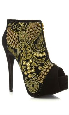 Miss Selfridge Passion Black Brocade Boot - collect 170 points when you buy 190c574750a