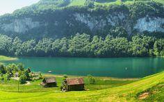 Switzerland, Швейцария, горы, река, домики, поляна, трава, деревья.
