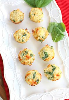 Quinoa Omelette Bites: 1 cup cooked quinoa, warmed; 1/2 cup shredded mozzarella or cheddar; 2 egg whites; 1 clove garlic, minced; 1 teaspoon salt; 1/3 cup chopped fresh spinach leaves.