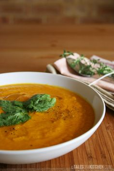 Comforting and warming, sweet and spicy, creamy carrot and sweet potato soup, with ginger and coriander.  http://talesofakitchen.com/soups/carrot-and-sweet-potato-soup-with-ginger-and-coriander/