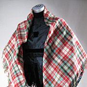 Colorful & Rare Victorian Fine Wool Plaid Shawl