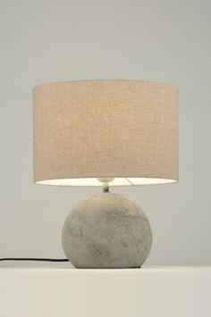 tafellamp 87591: modern, stof, grijs, rond ...