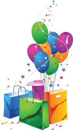 Festive Balloons and Shopping Bags Vector Happy Birthday Clip Art, Happy Birthday Wishes Cards, Birthday Clipart, Happy Birthday Pictures, Birthday Blessings, Happy Birthday Quotes, Birthday Messages, Happy Birthday Me, Birthday Gifts