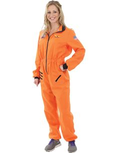 Adult Women's Orange Astronaut Costume