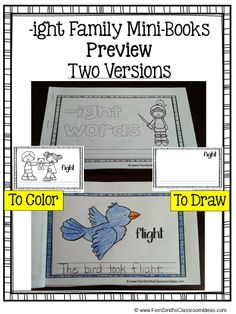 Printable Phonics Mini-Books for the -ight Family #TPT $Paid