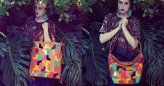Missibaba leather Traveller bags, technicolour, tribal