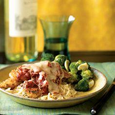 Herbed Chicken Parmesan- sub oat bran for bread crumbs and add garlic powder. Mozzarella instead of provolone.