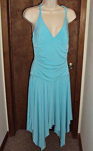 Turquoise Dress Racerback Handkerchief Hemline Braided Halter W Wrapper Size Lrg