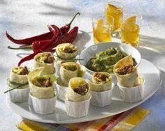 Mini-Burritos mit Avocadocreme Rezept (use toothpicks to keep them together instead)