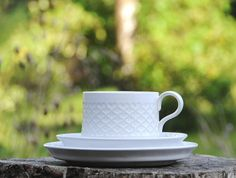 Quistgaard White Cordial/ Palet. Trio  Cup saucer plate