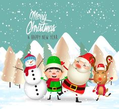 Meery Christmas, Merry Christmas Pictures, Merry Christmas Vector, Merry Christmas And Happy New Year, Christmas Ornaments, Happy New Year Logo, Happy New Year Cards, Winter Landscape, Cute Animals