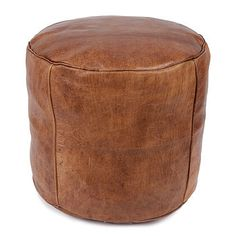 Moroccan Leather Drum Pouffe Cover